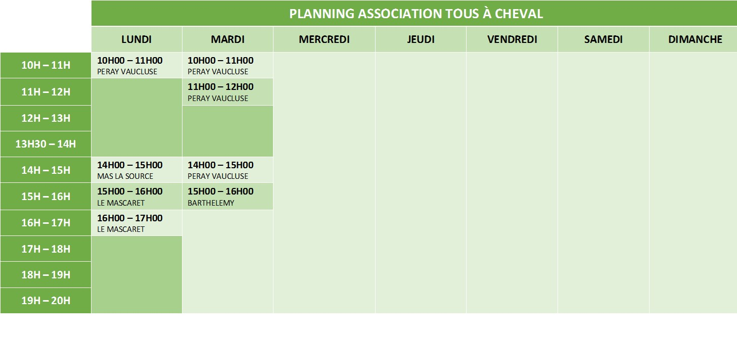 Planning - Association Tous à cheval